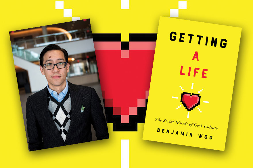 "[photo of montage of author Benjamin Woo and the cover of his book ""Getting a Life.""]"