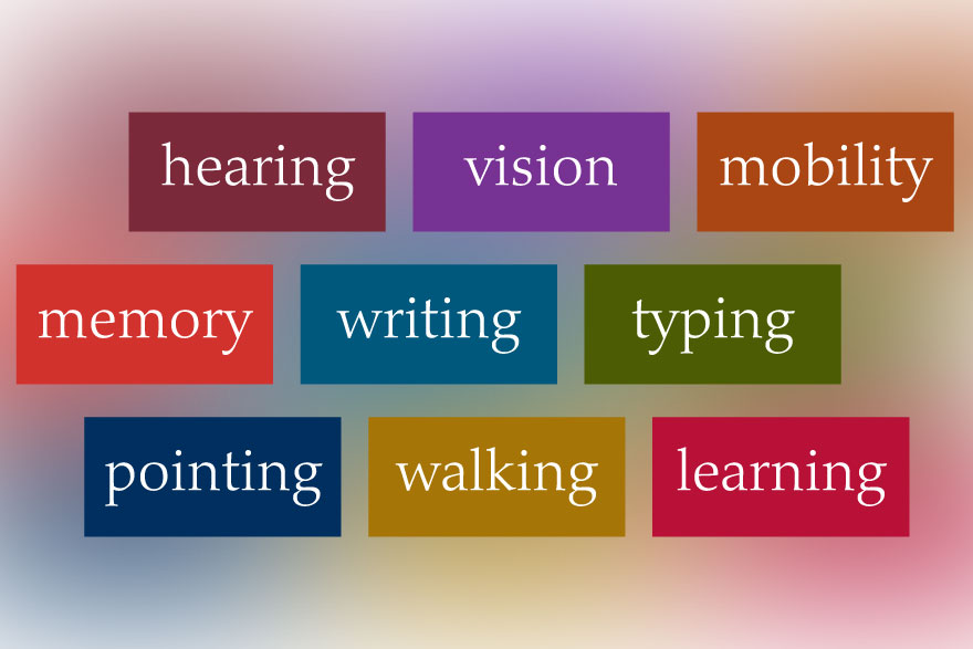 [graphic of words:  hearing, vision, mobility, memory, writing, typing, pointing, walking, learning]