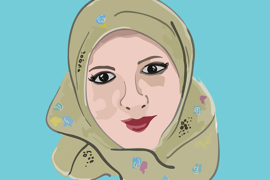 [illustration of Sana'a Abu Eid, a researcher in the Faculty of Education]