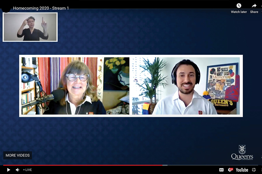 [screenshot of Zoom video meeting with Shelagh Rogers and Rico Garcia]