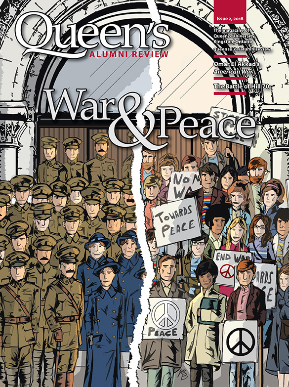 [illustration of Queen's students in 1918 wearing army uniforms and Queen's students in 1968 at a peace rally