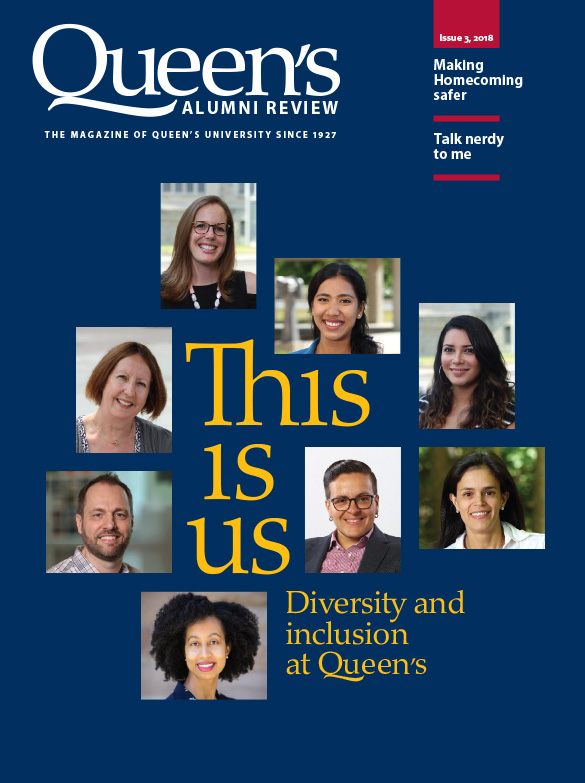 [cover graphic of Queen's Alumni Review, issue 3-2018]