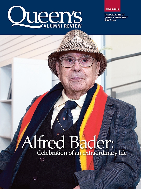 [cover image of Queen's Alumni Review issue 1, 2019, showing a photo of Alfred Bader]