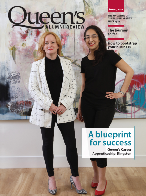 [cover image of the Queen's Alumni Review issue 1, 2020, showing two women]