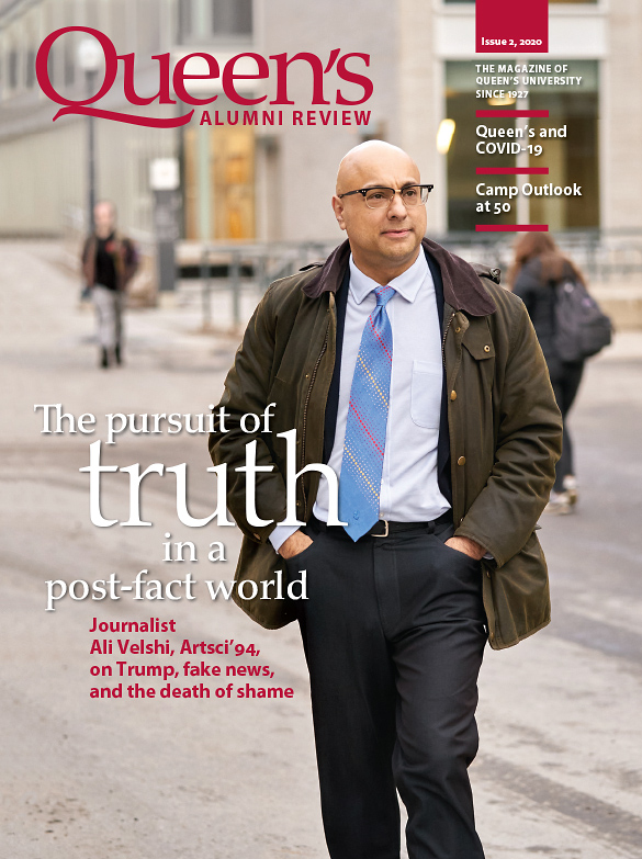 [cover image of the Queen's Alumni Review issue 2, 2020 featuring Ali Velshi, Artsci'94]