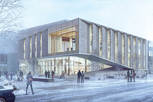Exterior rendering of the proposed JDUC redevelopment design.