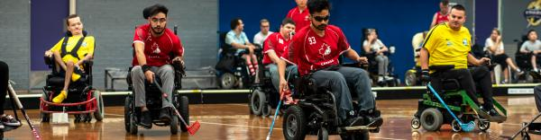Members of PowerHockey Canada is working with Queen's researchers to build a more inclusive and high-quality powerchair program in Canada. Photo courtesy of power hockey canada