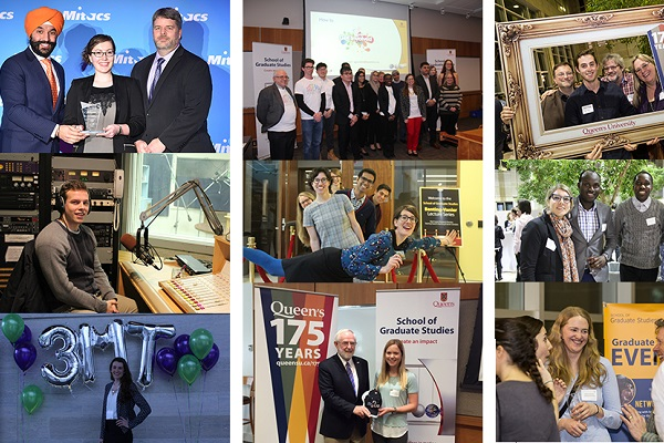 A collage of photos starring Queen's graduate students, their supervisors, and others. (Supplied Photo)