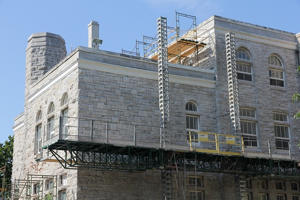 The scaffolding around Fleming Hall will be up until the fall, and back again next summer.