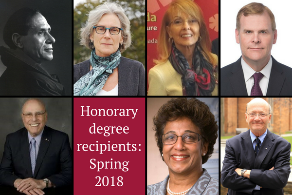 [The seven honorary degree recipients (Photos: Supplied)]