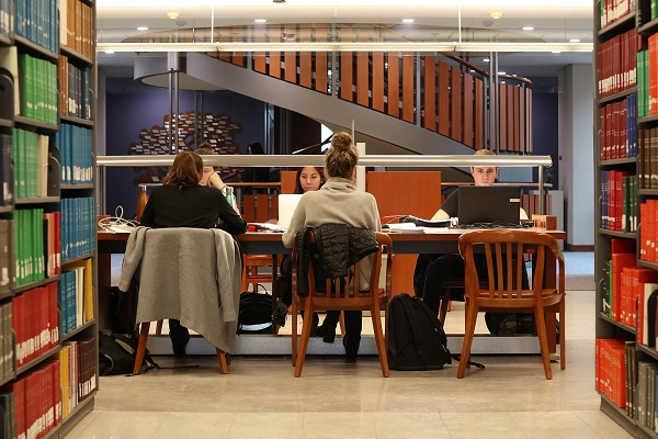 [Queen's University students Stauffer Library studying]
