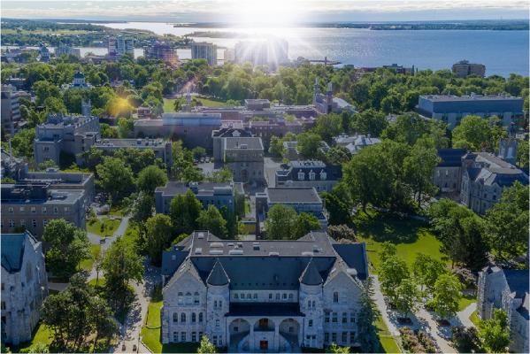 Aerial shot of the Queen's campus in Kingston, Canada.