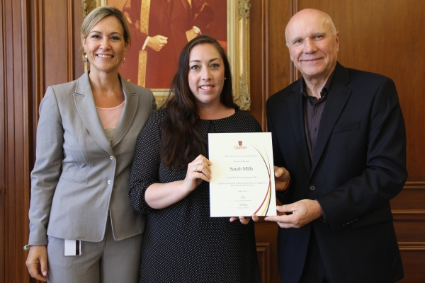[Sarah Mills receives HR certificate]
