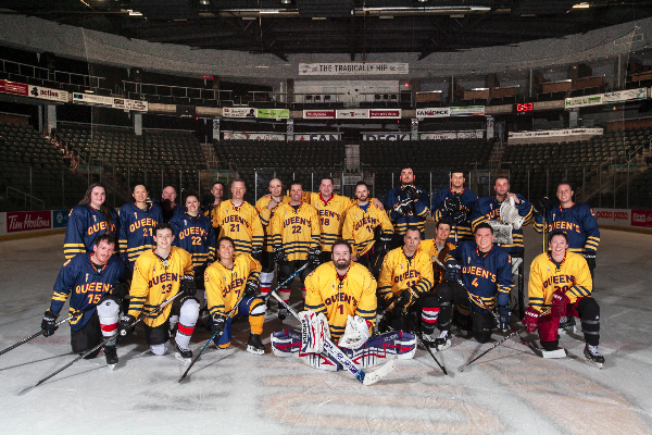 Indigenous Hockey Research Network members during a pick-up game after meeting at Queen's.