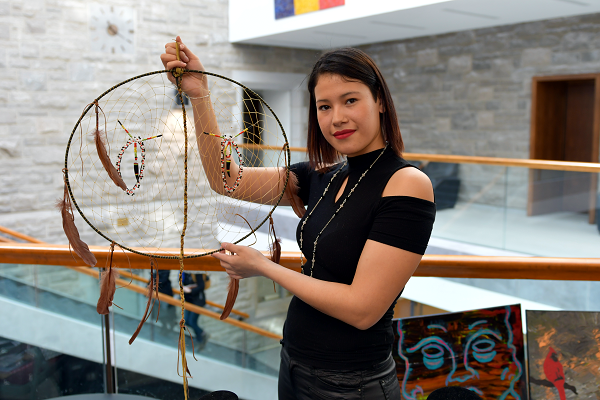 Jaylene Cardinal was one of the Indigenous artists who visited campus as part of Indigenous Awareness Week. (University Communications)