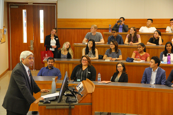 "His Excellency Vikas Swarup provides a lecture on ""The New India"" to a group of Smith School of Business graduate students, faculty, and other special guests in Goodes Hall."
