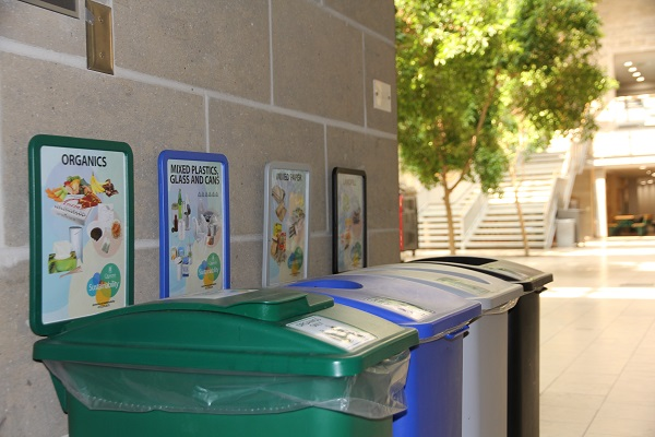 Waste and recycling bins at Queen's