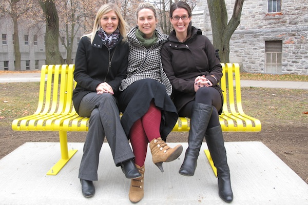 [Thrive organizers on yellow bench]
