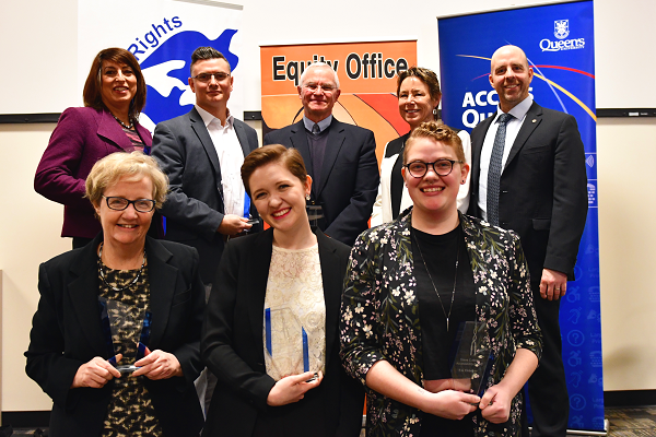 2017 Tri-Award recipients, along with the Provost and Deputy Provost (Academic Operations and Inclusion). L-R, back to front: Erin LeBlanc, Michael Fisher, Ian Casson, Deputy Provost Teri Shearer, Provost Benoit-Antoine Bacon, Tricia Baldwin, Charlotte Johnston, Em Osborne. (University Communications)