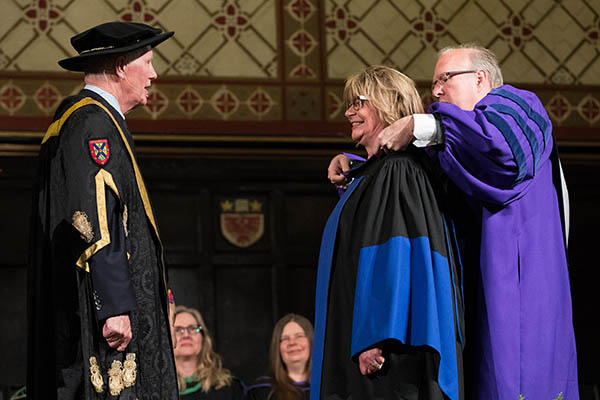 Shelagh Rogers is hooded