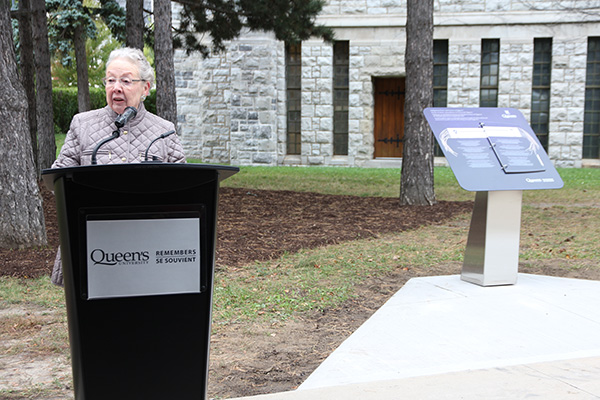 Marlene Brant Castellano, Co-Chair, Aboriginal Council of Queen's University, talks about the significance of the plinth that was unveiled on Monday, Oct. 13.