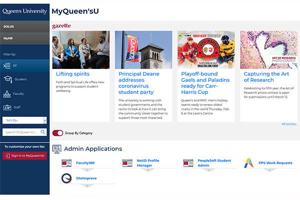 MyQueensU new homepage