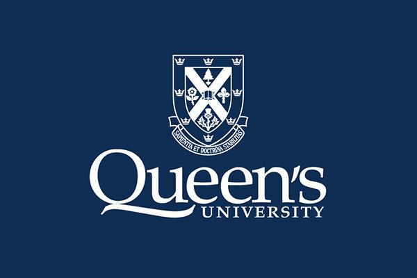 Queen's logo in white on a blue field