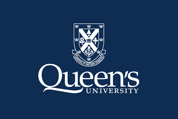 Queen's logo on blue background