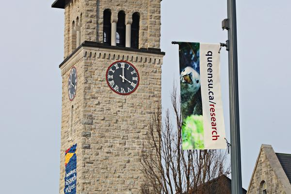 Research banner along University Avenue and in front of Grant Hall