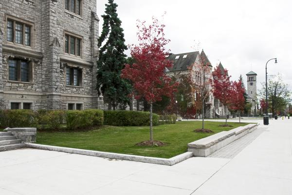 Ontario Hall and Grant Hall seen from the north along University Avenue.