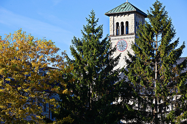 """Grant Hall seen through the trees"""