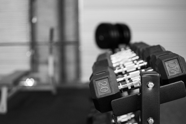 Photograph of weights in a gym