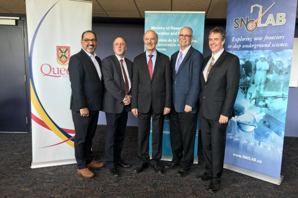 """Provincial government and Queen's University representatives announce funding for SNOLAB"""