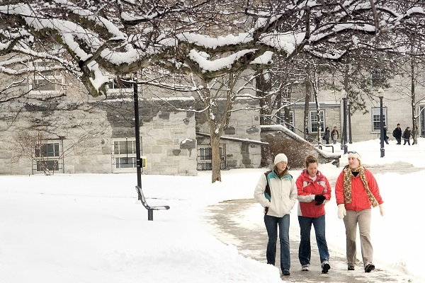 Students walking around campus after a snow storm.