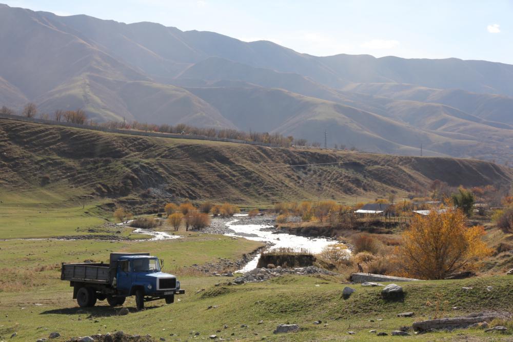[photo of mountains in Kazakhstan. Photo by David Rakowski]