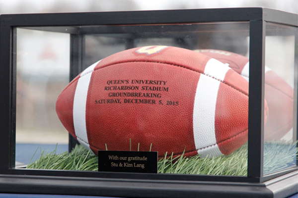 A commemorative football given to donors Stu and Kim Lang.