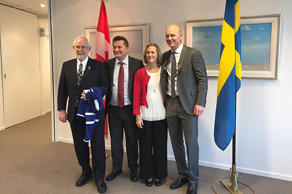 Dr. Art McDonald, left, takes a photo with Ambassador Ken Macartney, Susan Macartney and former Toronto Maple Leafs star Mats Sundin, during his visit to the Canadian Embassy in Stockholm..