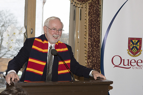 Professor Emeritus Art McDonald speaks at a luncheon at the Grand Hotel in Stockholm, hosted by Queen's University, honouring him for winning the Nobel Prize in Physics. (Photo by Gunnar Seijbold)