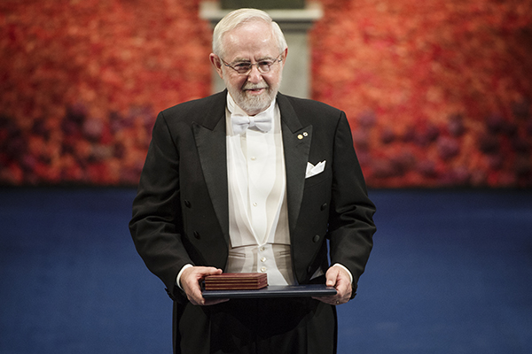 Queen's University Professor Emeritus Art McDonald receives the Nobel Prize in Physics in Stockholm, Thursday, Dec. 10. (Photo by Pi Frisk, Nobel Media)