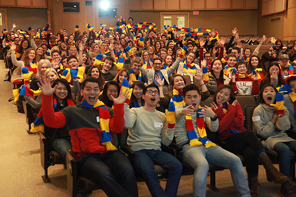 As part of their welcome to Queen's University, incoming international exchange students received a pair of tri-colour mittens or a scarf to help deal with the winter cold.