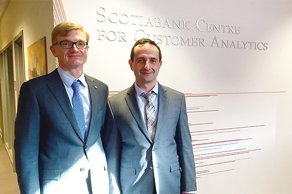 Michael Zerbs, Scotiabank Executive Vice President and Co-Head, Information Technology, Enterprise Technology, and Yuri Levin, Chaired Professor of Operations Management and Director of the Master of Management Analytics program at the Smith School of Business were on hand for the opening of the Scotiabank Centre for Customer Analytics. (Photo by Alix Martin)