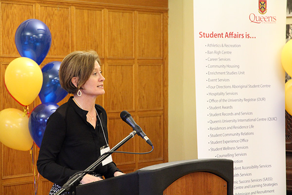 Vice-Provost and Dean of Student Affairs Ann Tierney introduces the award winners during the ceremony held at the McLuaghlin Room of the John Deutsch University Centre.
