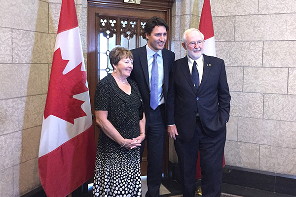 Queen's University Professor Emeritus and Nobel Laureate Art McDonald and his wife Janet meet with Prime Minister Justin Trudeau at the House of Commons on Tuesday, March 8.