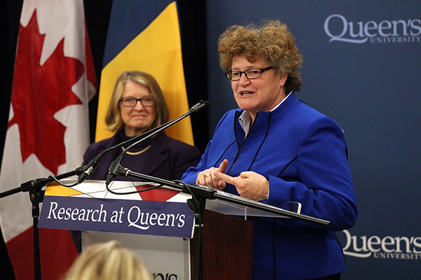 Queen's University researcher Wendy Craig talks about the work being done by PREVNet as co-director, York University researcher Debra Pepler, looks on.
