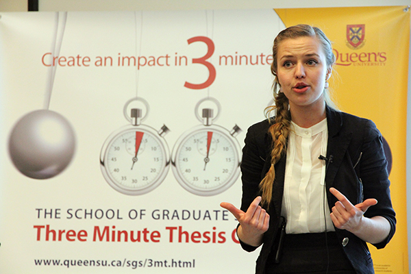 Anastasia Shavrova, a master's student in biology, claimed the title at the fifth annual Queen's University Three Minute Thesis.