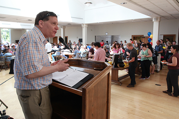 Principal Daniel Woolf thanks Queen's faculty and staff for their efforts in making the Initiative Campaign a success. (Photo by Bernard Clark)