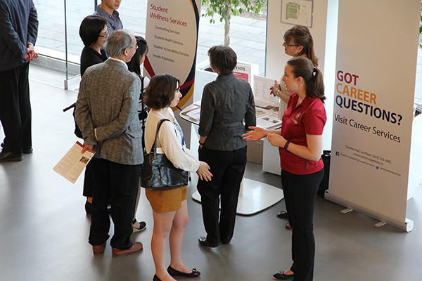 A student visitor asks a question during the first-year student reception held at the Isabel Bader Centre for the Performing Arts on May 25.