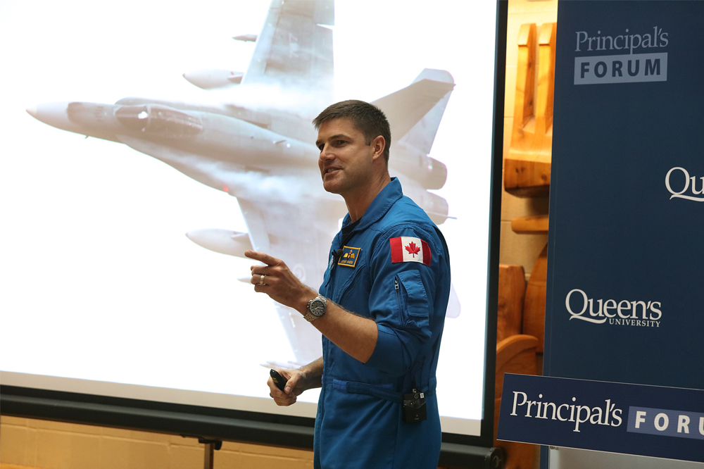 Lt.-Col. Jeremy Hansen discusses the career path that led him to the Canadian Space Agency, including his time as a CF-18 Hornet pilot in the Royal Canadian Air Force. (Photo Credit: Bernard Clark)