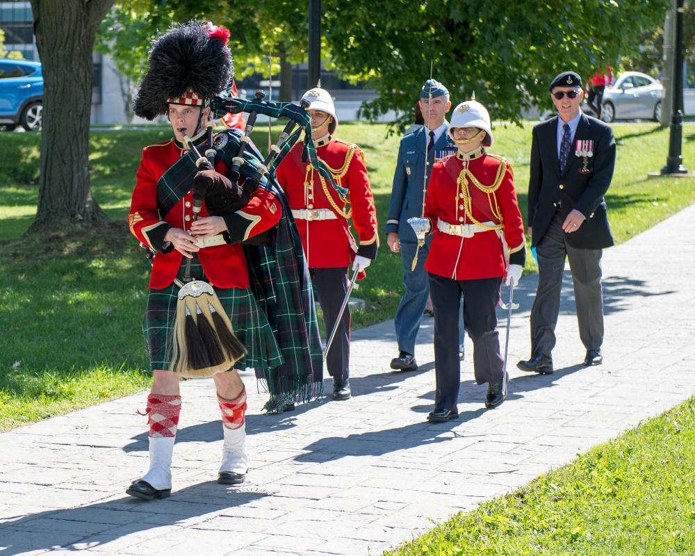 The Commandant of the Royal Military College of Canada, Brigadier-General Sean Friday, accompanies Honorary Colonel James William Leech to the Wall of Honour Ceremony on 24 September 2016.  Honorary Colonel Leech was one of three ex-cadets honoured with a plaque in this year's ceremony.(Photo Credit: Adam Dargavel. ©2016 DND-MDN Canada)