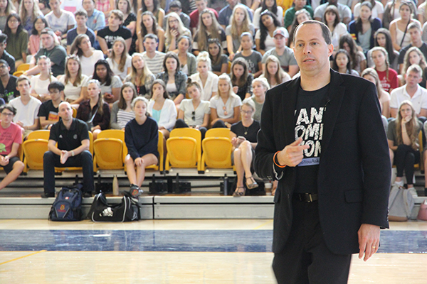 Mike Domitrz of the Date Safe Project talked about consent as part of Queen's University's sexual violence prevention and education efforts during Orientation Week, on Monday, Sept. 5.